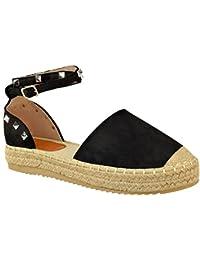d5277e0c Fashion Thirsty heelberry Mujer Alpargatas Sandalias Plataforma Tobillo  Tiras Verano Zapatos Talla