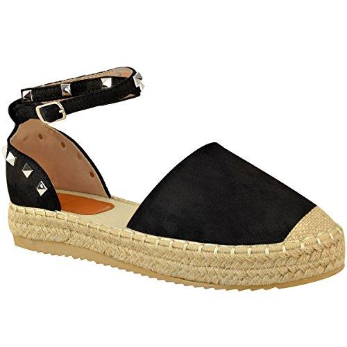 Fashion thirsty heelberry donna espadrillas sandali con zeppa caviglia estivo con cinturino scarpe numeri - nera pelle scamosciata, 38