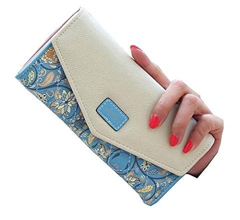 Women Leather Wallet Envelope Purse Card Holder Mobile Bag Long Zip Handbag Blue