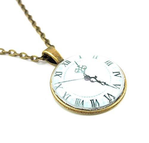 Stechschmuck Halskette mit Anhänger Medaillon Talisman Amulett Uhr Römische Zahlen Bronze Cabochon Steampunk Damen Kinder 27mm Nickelfrei