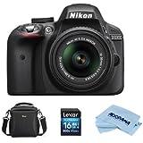 Nikon D3300 DSLR With AF-S DX NIKKOR 18-55mm F/3.5-5.6G VR II DX Lens, Black - With Camera Bag, 16GB SDHC Card, Microfiber Cloth