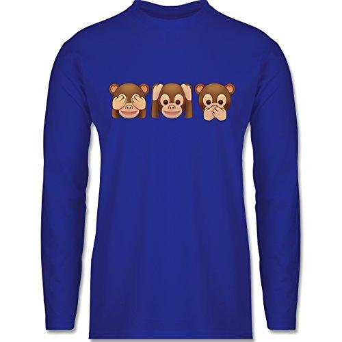 Shirtracer Comic Shirts - Äffchen Emoji - Herren Langarmshirt Royalblau