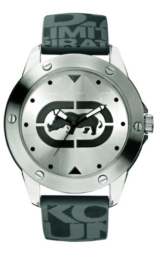 Marc Ecko Men's The Tran Watch E09520G7 with Silver Dial and Grey Silicone Strap