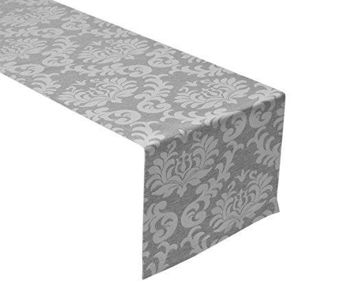 Beautex Tischläufer Tischläufer Tischband 40x150 cm Barock Damast, Farbe Wählbar (Silber)