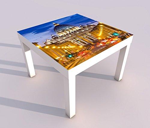 Design - Tisch mit UV Druck 55x55cm Petersdom Vatikan Rom Italien Papst Spieltisch Lack Tische Bild Bilder Kinderzimmer Möbel 18A1300, Tisch 1:55x55cm