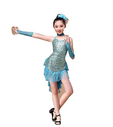 JTIHGNFG JTIH® Latin-Tanzwettbewerb für Kinder Kostüme mit Fransen Little Princess's Sparkling Skirt Das Paket enthält: Handschuhe + Rock + Halskette + Blume auf dem Kopf