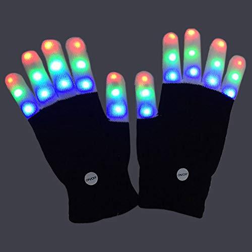 e Glow Handschuhe 7 Farben 6 Modi LED Handschuhe Partykostüm Glow Toys für Erwachsene und große Kinder ()
