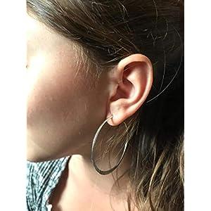 ✿ 5 CM GROßE FLACHE SILBERNE CREOLEN ✿ BOHEMIAN Ohrringe