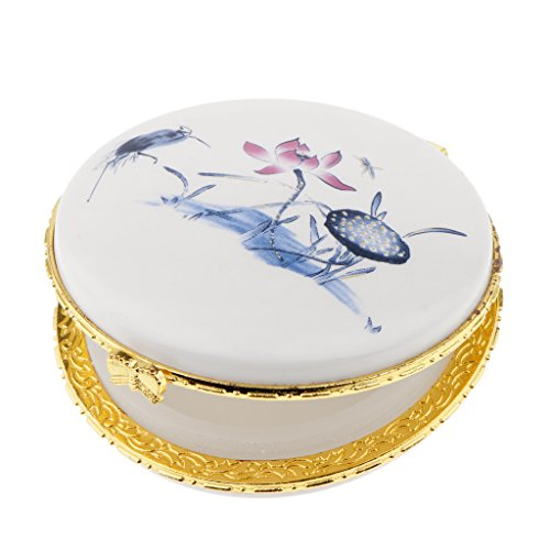 non-brand Sharplace Keramik Puderdose Gewürzdose Kosmetik Aufbewahrungsbox mit Schöne Mustern - Blauer Lotus -