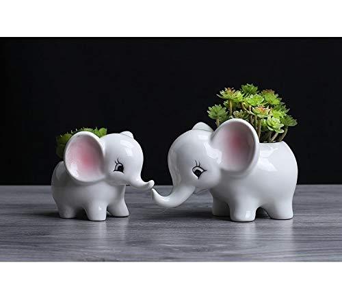 SUNRUNER Blumentöpfe Elefant Sukkulenten Blumentopf Keramik Bonsai Töpfe Garten Blumenkübel Home Office Decor 2 Set