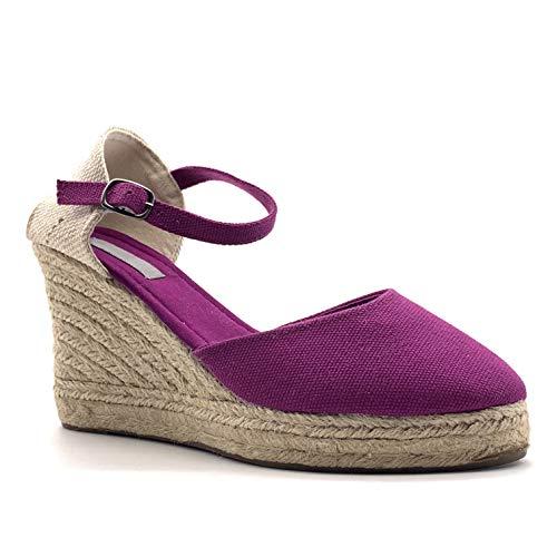 Angkorly - Damen Schuhe Sandalen Espadrilles - Folk/Ethnisch - Böhmen - romantisch - mit Stroh - Geflochten - Basic Keilabsatz high Heel 9 cm - Lila 787-5 T 37 - Lila 9