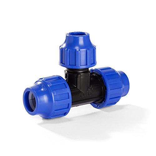 H2O-Flex PP-Fitting, Klemmverbinder - 32er T-Stück Reduziert für PE-Rohr, 32-25 - 32 mm, DVGW (Pp-rohr)