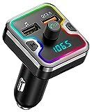 Cocoda Transmetteur FM Bluetooth, [Lampe d'Anneau de 7 Couleurs] Kit Main Libre Voiture Bluetooth sans Fil, QC 3.0 Chargeur Voiture Adaptateur Radio avec Dual USB Ports, Support Carte TF, Clé USB