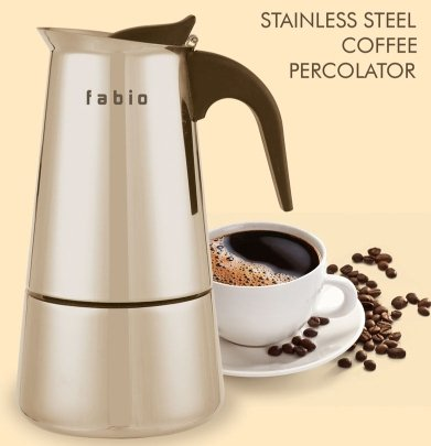 FABIO '2 cups' 304 Grade Stainless Steel Coffee Percolator