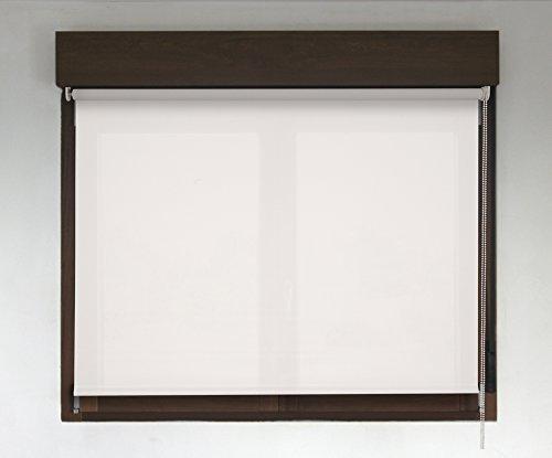 Estor enrollable TRANSLÚCIDO PREMIUM (desde 40 hasta 300cm de ancho / permite paso de luz, no permite ver el exterior/interior). Color blanco. Medida 90cm x 200cm para ventanas y puertas