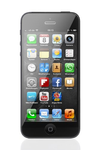 Apple iPhone 5 Smartphone (4 Zoll (10,2 cm) Touch-Display, 16 GB Speicher, iOS 6) schwarz (Iphone 5 16gb Schwarz Unlocked)