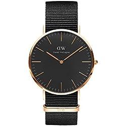 Daniel Wellington DW00100148 - Relojes en acero inoxidable con correa de nylon Unisex, color negro/gris