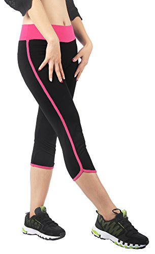 4How® Leggings de Sport Pantalons Rayé Côtés pour Yoga (Liquidation totale) 3/4 Fushia Rayé Côtés