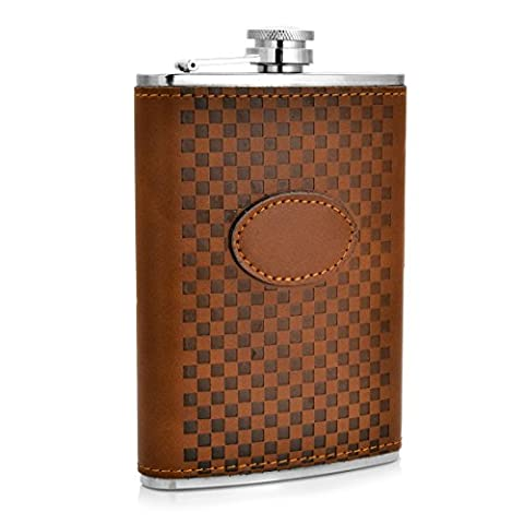 Shenglin Leather Covered Grid Pattern Stainless Steel Flask 9 oz