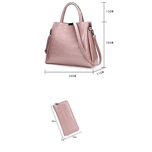 Damen Handtaschen Mode In Europa Und Amerika-Leder-Schulter-Diagonalbeutel Wallet Pink
