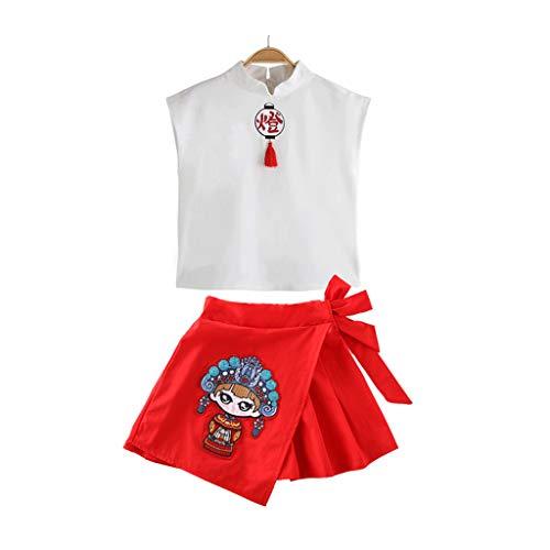 Elegante Drei Stück Anzug (Julhold Teen Kinder Mädchen Mode Elegant Cartoon Laterne Lose T-Shirt Oberteile Rock Tang Anzug 2 STÜCK Outfits Set 3-13 Jahre)