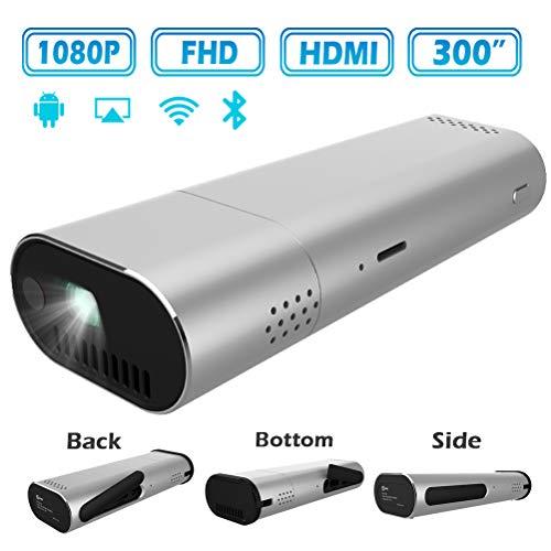 YYBF Mini Proyector, Portátil Proyector Cine En Casa, 1080P Full HD Projector, Soporta WiFi HDMI VGA AV USB TF PC Bluetooth Android 6.0 5G, para Oficina Viajes Entretenimiento Vídeo ect
