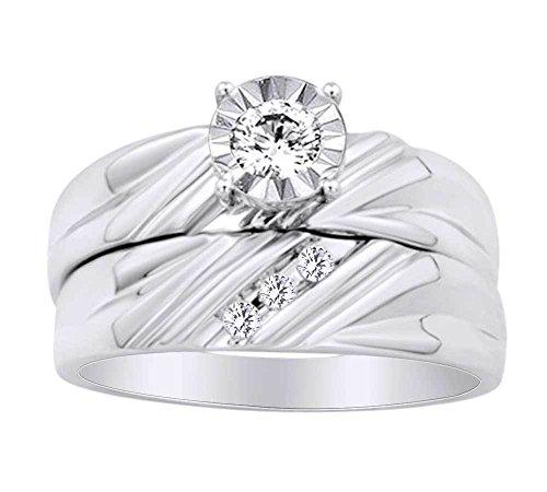 Runde Form Weiß natürlicher Diamant Solitaire Hochzeit Ring Set in 10ct Solid Weiß Gold (0,30ct) -wg-o 1/2