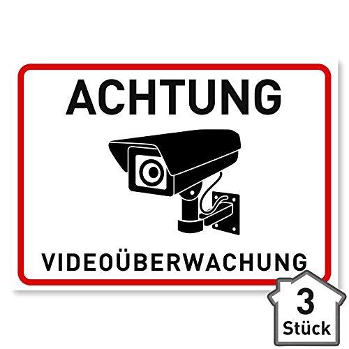 3 x Aufkleber Videoüberwachung - A6 (14,8 x 10,5 cm) - Schild...