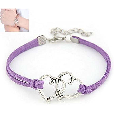 Toraway corazón del amor manera de la aleación hecha a mano del encanto de la cuerda joyería de regalo de la pulsera de la armadura para las mujeres (Púrpura Oscuro)