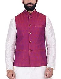 Kisah Magenta Jaquard Cotton Silk Men's Waistcoat