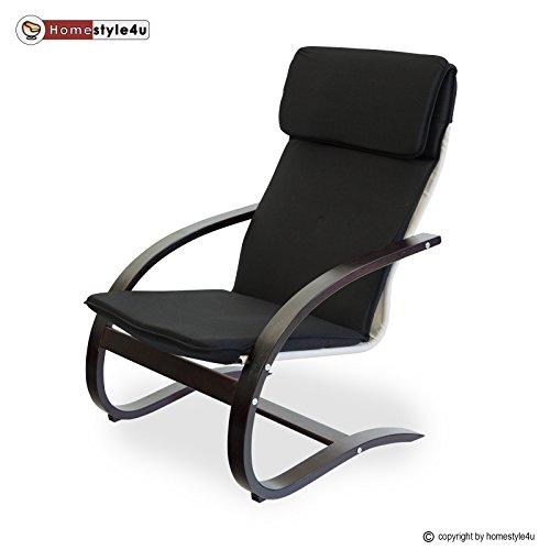 Homestyle4u Schwingsessel Freischwinger Sessel in schwarz dunkelbraun Relaxsessel Schaukelstuhl Schwingstuhl