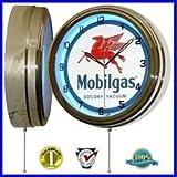 """Mobil Gas Mobilgas Aceite 15""""Reloj de pared de neón Publicidad Garaje Sign One 1"""