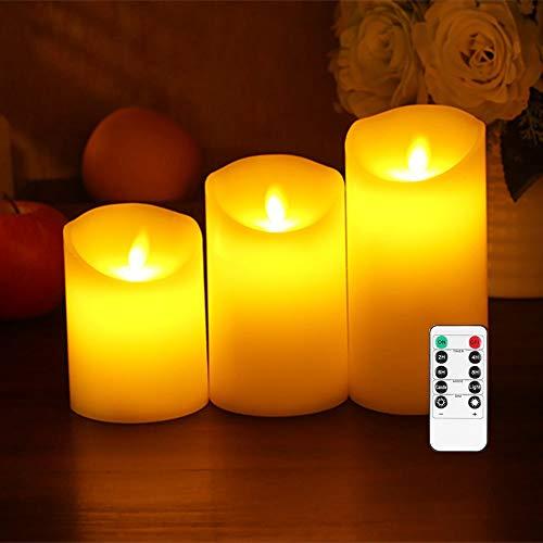 Kambo 3 Velas LED sin Llama Velas Pilas Φ7.5cmx H15cm / 12.5cm / 10cm Pilas de Cera Real no de Plástico 10 Teclas con 2/4/6/8 Horas Función del Temporizador 300 Horas