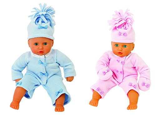 FRILLY LILY 18-20 inch dolls Twin Dolls Complete Fleece outfits Pale Blue and Pink , from U K Designer Frilly Lily .Suitable for dolls such as 46 cm Baby Annabell , Tiny Treasures and lots of Corolle and Gotz dol