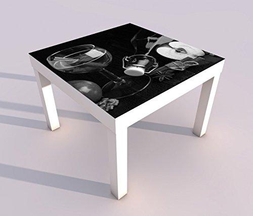 Design - Tisch mit UV Druck 55x55cm schwarz weiß Wein Apfelwein Glas Zimt Apfel Flasche Spieltisch Lack Tische Bild Bilder Kinderzimmer Möbel 18A1033, Tisch 1:55x55cm