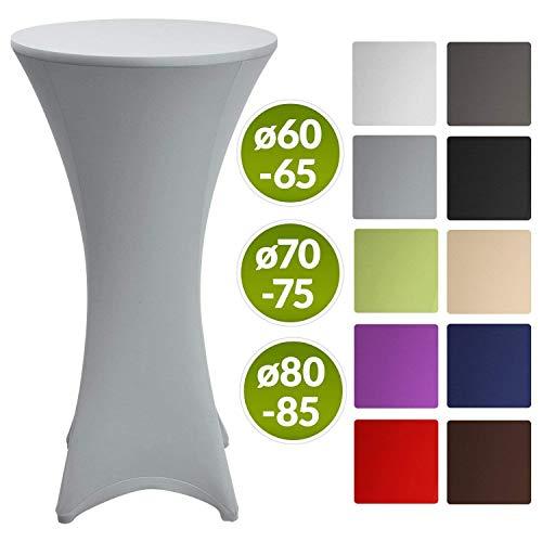 Beautissu Stretch Stehtisch Husse Stella für Bistrotisch Ø 80-85 cm Elegante Stretch-Husse Silber-Grau als Tisch-Überzug in div. Farben & Größen