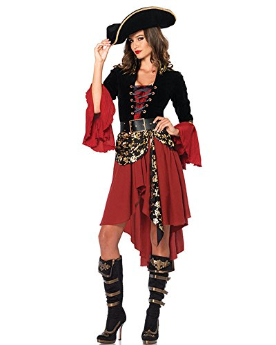 LaoZan Damen Piraten-Kostüm Halloweenkostüm Piratenkostüm Kleid Irreguläre Kleid Piratinnenkostüm für Damen Rot (Damen Karibik Piraten Kostüme)