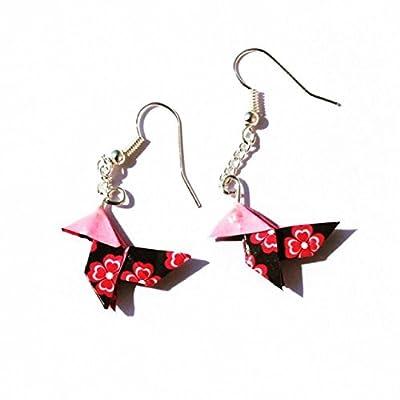 Boucles d'oreilles cocotte origami flower