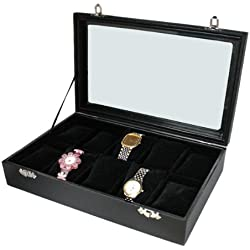 Watch Box Display Case Collection Box for 10 Watches Glass Lid Cushion