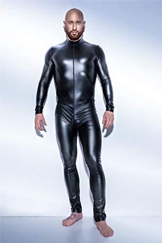 JHLUB Herren PVC Catsuit Langarm Leder Overall Reißverschluss Body Bar Stage DS Kostüm Wetlook Clubwear,Schwarz,XXL (Kostüm Reißverschlüsse)
