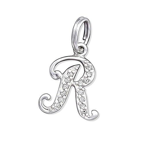 Bungsa Buchstabe R Halsketten-Anhänger Buchstaben 925 Sterling Silber mit Kristallen - Kleiner Buchstabe R Charm für Bettel-Armband - für Damen, Kinder & Herren - Silberner Letter R