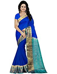 Nirja Creation Women'S Cotton Silk Saree With Blouse( Madhuri ) (BLUE FIROZI)