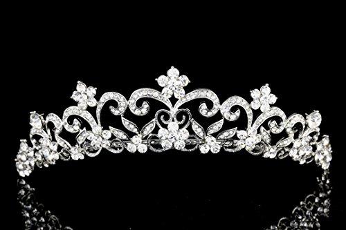 Venus Jewelry Damen Brautschmuck Blumen Kristall Strass Hochzeit Ball Tiara Krone