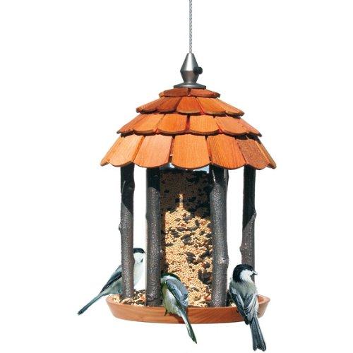 "norax Vogelhaus Futtersäule ""HOLZHÜTTE"" aus Holz inkl. 1 kg Vogelfutter (900215)"