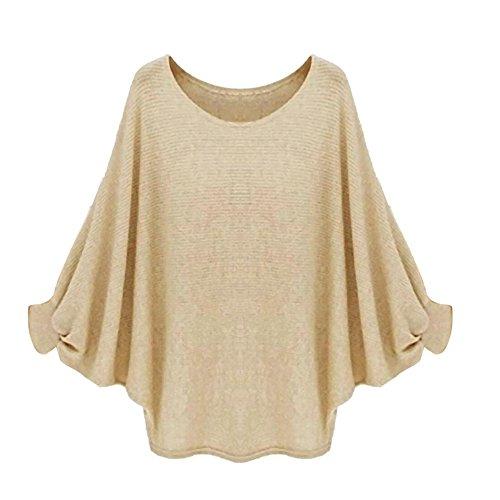 Reasoncool Le donne oversize Batwing lavorato a maglia Pullover allentato maglione (Free Size, Khaki)