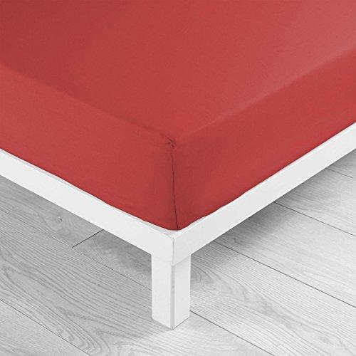 Douceur d'Intérieur Drap Housse Uni 100% coton Jersy Rouge 90 x 190 cm