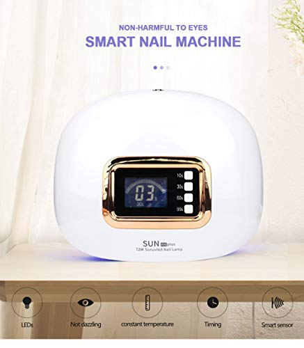 72W LED UV Lamps For Gel Nail Dryer,Infrated Sensing/LCD Monitor/Professional Nail Curing Light,10/30/60/90s Time Img 4 Zoom