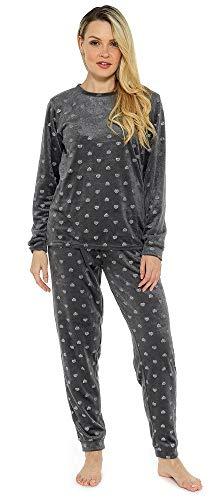 CityComfort Schlafanzug Damen Winter   Pyjama Damen Warm Flauschig   Schlafanzug Lang mit Bündchen   Nachtwäsche Zweiteiliger Schlafanzüge Weich, Elegant (S - 8/10, Kohle Herzen)