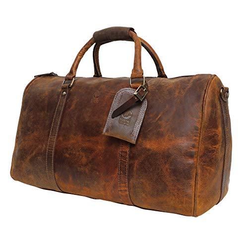 Rustic Town groß Leder Reisetasche - Carry On Vintage Umhängetasche Duffel Bag Weekender Tasche für Herren und Damen (Braun) -