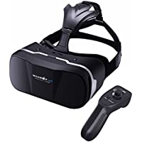 VR Gafas 3D + Control Remoto Bluetooth, BlitzWolf Gafas de Realidad Virtual de 4,7-6 Pulgadas VR Cardboard Versión Mejorada para IOS iPhone SE 6 6s Plus, Android Samsung Galaxy S5 S6 S7 Edge Note 4 5